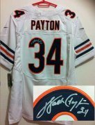 Wholesale Cheap Nike Bears #34 Walter Payton White Men's Stitched NFL Elite Autographed Jersey
