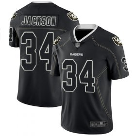 Wholesale Cheap Nike Raiders #34 Bo Jackson Lights Out Black Men\'s Stitched NFL Limited Rush Jersey