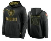 Wholesale Cheap Men's Las Vegas Raiders Custom Black 2020 Salute To Service Sideline Performance Pullover Hoodie