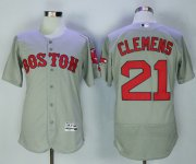 Wholesale Cheap Red Sox #21 Roger Clemens Grey Flexbase Authentic Collection Stitched MLB Jersey