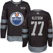 Wholesale Cheap Adidas Oilers #77 Oscar Klefbom Black 1917-2017 100th Anniversary Stitched NHL Jersey