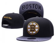 Wholesale Cheap NHL Boston Bruins Team Logo Black Mitchell & Ness Adjustable Hat