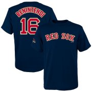 Wholesale Cheap Boston Red Sox #16 Andrew Benintendi Majestic Youth 2019 Gold Program Name & Number T-Shirt Navy