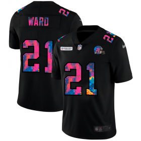 Cheap Cleveland Browns #21 Denzel Ward Men\'s Nike Multi-Color Black 2020 NFL Crucial Catch Vapor Untouchable Limited Jersey