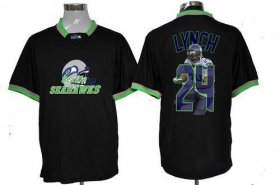 Wholesale Cheap Nike Seahawks #24 Marshawn Lynch Black Men\'s NFL Game All Star Fashion Jersey