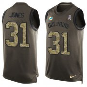 Wholesale Cheap Nike Dolphins #31 Byron Jones Green Men's Stitched NFL Limited Salute To Service Tank Top Jersey