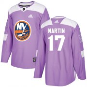 Wholesale Cheap Adidas Islanders #17 Matt Martin Purple Authentic Fights Cancer Stitched NHL Jersey
