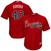 Wholesale Cheap Braves #40 Mike Soroka Red New Cool Base Stitched Youth MLB Jersey