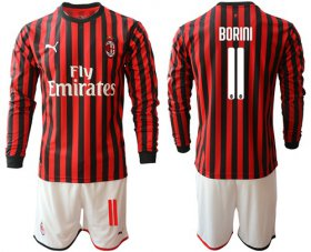 Wholesale Cheap AC Milan #11 Borini Home Long Sleeves Soccer Club Jersey