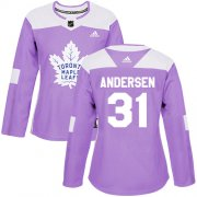 Wholesale Cheap Adidas Maple Leafs #31 Frederik Andersen Purple Authentic Fights Cancer Women's Stitched NHL Jersey