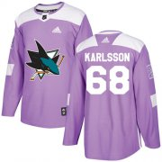 Wholesale Cheap Adidas Sharks #68 Melker Karlsson Purple Authentic Fights Cancer Stitched Youth NHL Jersey