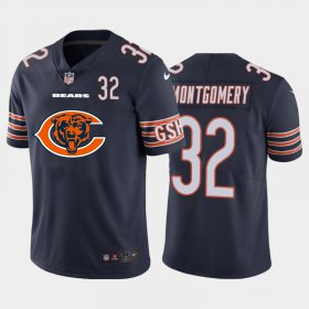 Wholesale Cheap Chicago Bears #32 David Montgomery Navy Blue Men\'s Nike Big Team Logo Player Vapor Limited NFL Jersey