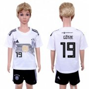 Wholesale Cheap Germany #19 Gotze White Home Kid Soccer Country Jersey