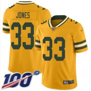 Wholesale Cheap Nike Packers #33 Aaron Jones Gold Men's Stitched NFL Limited Inverted Legend 100th Season Jersey