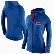 Wholesale Cheap Women's Nike Chicago Bears Full-Zip Performance Hoodie Blue