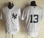 Wholesale Yankees #13 Alex Rodriguez White Strip Flexbase Authentic Collection Stitched Baseball Jersey