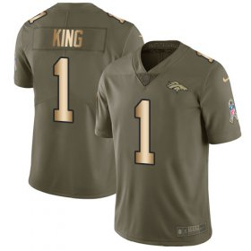 Wholesale Cheap Nike Broncos #1 Marquette King Olive/Gold Men\'s Stitched NFL Limited 2017 Salute To Service Jersey