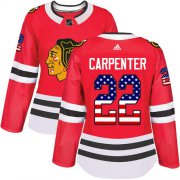 Wholesale Cheap Adidas Blackhawks #22 Ryan Carpenter Red Home Authentic USA Flag Women's Stitched NHL Jersey