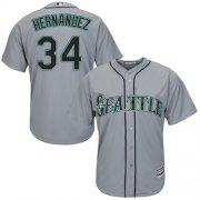 Wholesale Cheap Mariners #34 Felix Hernandez Grey Road Women's Stitched MLB Jersey