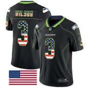 Wholesale Cheap Nike Seahawks #3 Russell Wilson Black Men's Stitched NFL Limited Rush USA Flag Jersey