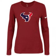 Wholesale Cheap Women's Nike Houston Texans Of The City Long Sleeve Tri-Blend NFL T-Shirt Red