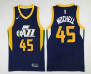 Wholesale Cheap Men's Utah Jazz #45 Donovan Mitchell Navy Blue 2017-2018 Nike Swingman Stitched NBA Jersey
