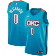 Wholesale Cheap Nike NBA Oklahoma City Thunder #0 Russell Westbrook 2018-19 New Season City Edition Blue Jersey