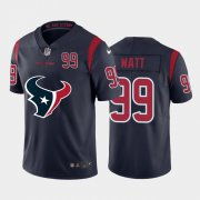 Wholesale Cheap Houston Texans #99 J.J. Watt Navy Blue Men's Nike Big Team Logo Player Vapor Limited NFL Jersey