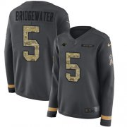 Wholesale Cheap Nike Panthers #5 Teddy Bridgewater Anthracite Salute to Service Women's Stitched NFL Limited Therma Long Sleeve Jersey