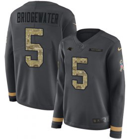 Wholesale Cheap Nike Panthers #5 Teddy Bridgewater Anthracite Salute to Service Women\'s Stitched NFL Limited Therma Long Sleeve Jersey