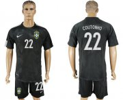 Wholesale Cheap Brazil #22 Coutonho Black Soccer Country Jersey