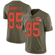 Wholesale Cheap Nike Browns #95 Myles Garrett Olive Youth Stitched NFL Limited 2017 Salute to Service Jersey