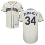 Wholesale Cheap Mariners #34 Felix Hernandez Cream Flexbase Authentic Collection Stitched MLB Jersey
