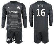 Wholesale Cheap Marseille #16 Pele Black Goalkeeper Long Sleeves Soccer Club Jersey