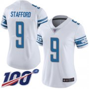 Wholesale Cheap Nike Lions #9 Matthew Stafford White Women's Stitched NFL 100th Season Vapor Limited Jersey