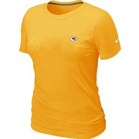 Wholesale Cheap Women\'s Nike Kansas City Chiefs Chest Embroidered Logo T-Shirt Yellow