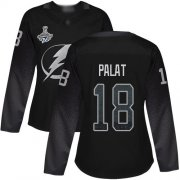 Cheap Adidas Lightning #18 Ondrej Palat Black Alternate Authentic Women's 2020 Stanley Cup Champions Stitched NHL Jersey