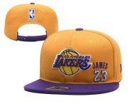 Wholesale Cheap Men's Los Angeles Lakers #23 LeBron James Purple Snapback Ajustable Cap Hat 1