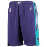 Wholesale Cheap Men's Jordan Brand Purple Charlotte Hornets Icon Swingman Basketball Shorts