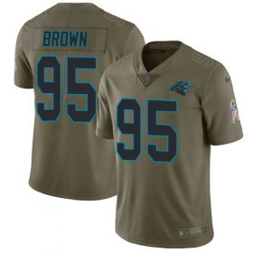 Wholesale Cheap Nike Panthers #95 Derrick Brown Olive Men\'s Stitched NFL Limited 2017 Salute To Service Jersey