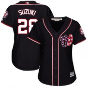 Wholesale Cheap Nationals #28 Kurt Suzuki Navy Blue Alternate Women's Stitched MLB Jersey