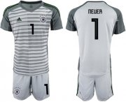 Wholesale Cheap Germany #1 Neuer Grey Goalkeeper Soccer Country Jersey