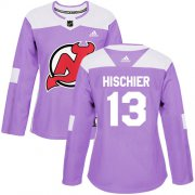 Wholesale Cheap Adidas Devils #13 Nico Hischier Purple Authentic Fights Cancer Women's Stitched NHL Jersey