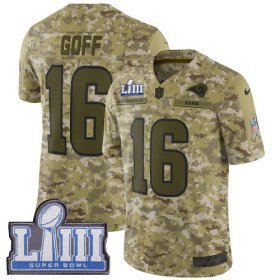 Wholesale Cheap Nike Rams #16 Jared Goff Camo Super Bowl LIII Bound Men\'s Stitched NFL Limited 2018 Salute To Service Jersey