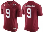 Wholesale Cheap Men's Alabama Crimson Tide #9 Bo Scarbrough Red 2017 Championship Game Patch Stitched CFP Nike Limited Jersey