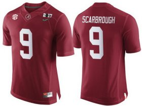 Wholesale Cheap Men\'s Alabama Crimson Tide #9 Bo Scarbrough Red 2017 Championship Game Patch Stitched CFP Nike Limited Jersey