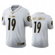 Wholesale Cheap Pittsburgh Steelers #19 JuJu Smith-Schuster Men's Nike White Golden Edition Vapor Limited NFL 100 Jersey