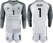 Wholesale Cheap Germany #1 Neuer Grey Goalkeeper Long Sleeves Soccer Country Jersey