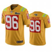 Wholesale Cheap Los Angeles Rams #96 Matt Longacre Gold Vapor Limited City Edition NFL Jersey