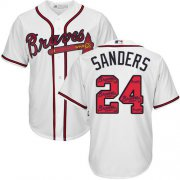 Wholesale Cheap Braves #24 Deion Sanders White Team Logo Fashion Stitched MLB Jersey